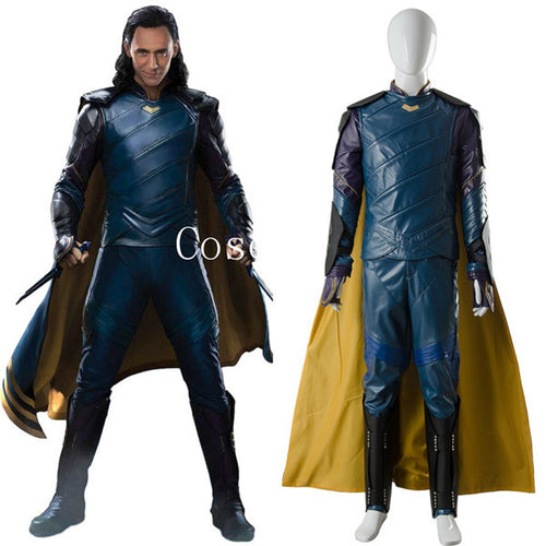 Thor 3 Ragnarok Loki Costume Tom Sakaar Suit Cape Cosplay Costume
