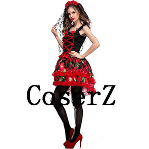Corpse Bride Costume Women Short Red Cosplay Costumes