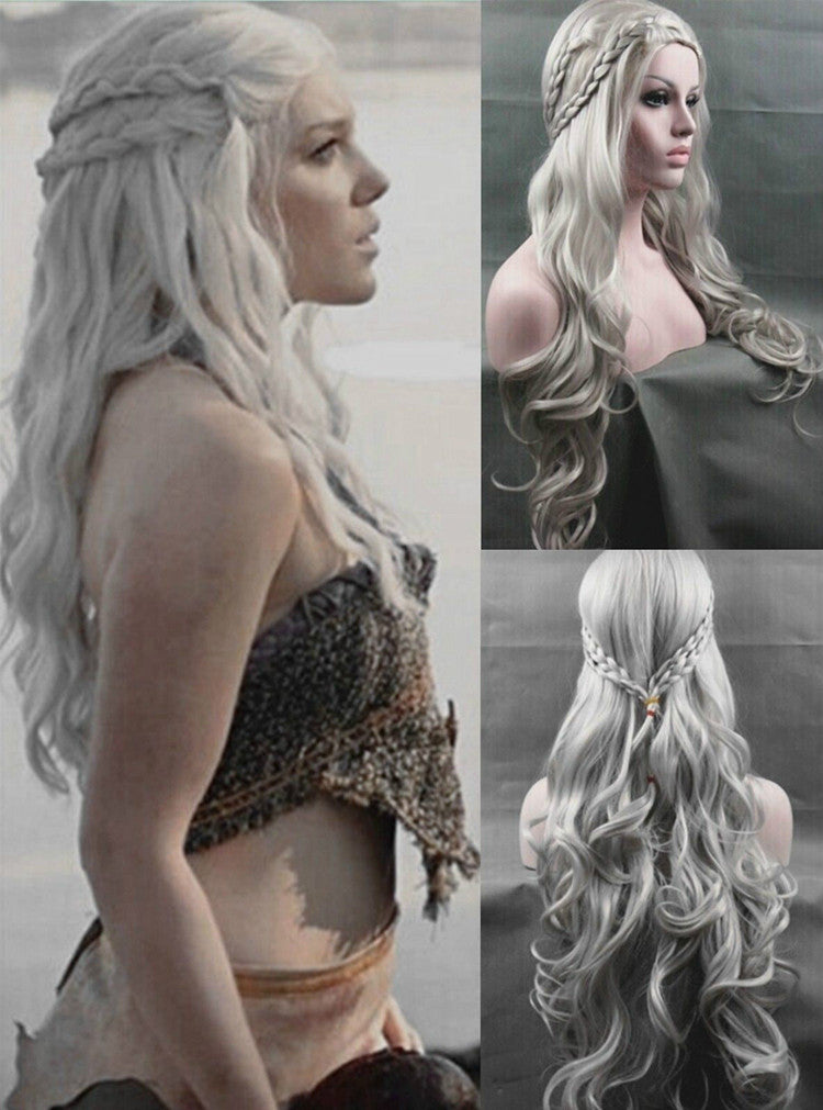 Daenerys Targaryen Wig, Silver Wavy Wig Dragon Princess Game of Thrones Cosplay Wig