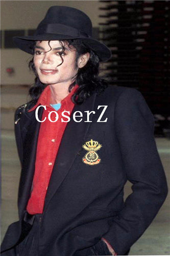 Michael Jackson  Retro Punk Style Black Jacket Suit Badge and Black Hat Cosplay Costume