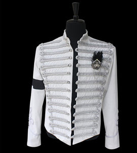 Michael Jackson  Retro Punk White Jacket British Army Dress Coat Cosplay Costume