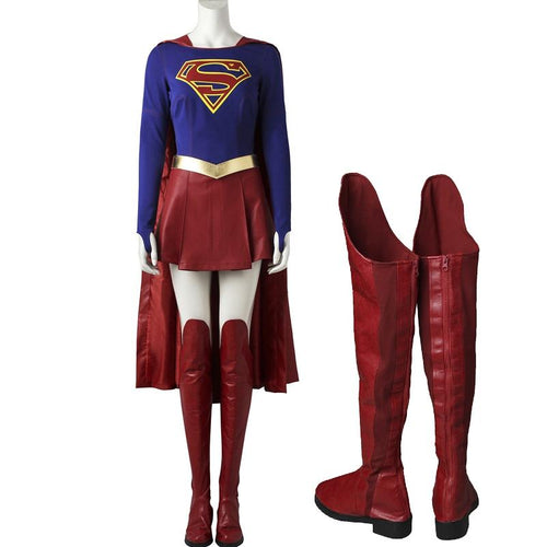 Supergirl Costume Carnival Cosplay Party Costume With Boots