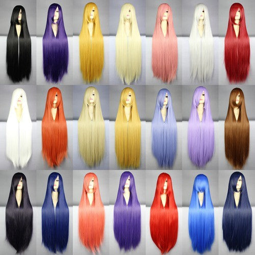 100 Cm Harajuku Anime Cosplay Wigs Young Long Straight Blonde Costume Party Wigs For Women 22 Colors