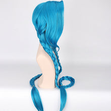 LOL Jinx Cosplay Wig, Jinx Wig Women Blue Double Ponytail Braids Hair 120cm For Halloween Party