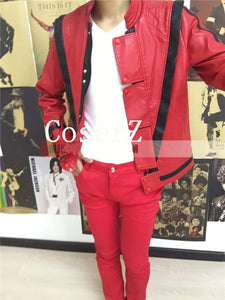 Michael Jackson Leather Thriller Red Jacket Pants Cosplay Costume