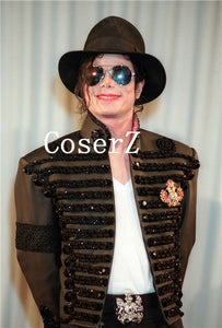 Michael Jackson Retro Punk Jacket British Army Dress Coat Black Color Cosplay Costume
