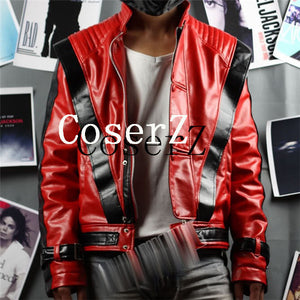 Michael Jackson Costume Leather Thriller Red Jacket Cosplay Costume