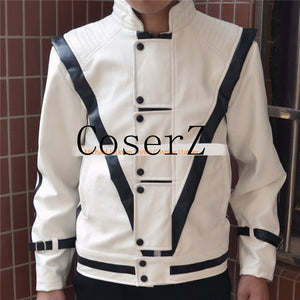 Michael Jackson Cosplay Leather Thriller White Color Jacket Cosplay Costume