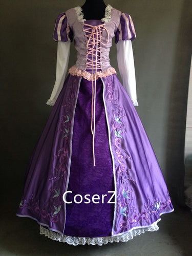 Custom-made Rapunzel Embroidered Dress, Princess Rapunzel Embroidered Costume