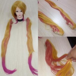 Kobayashi-san Chi No Maid Dragon Tohru Wig Cosplay Peluca Yellow Gradient Pink Hair Double Ponytail 100cm
