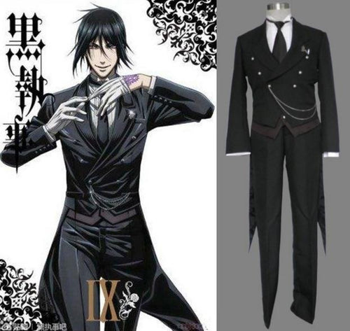 Black Butler Kuroshitsuji Sebastian Uniform Cosplay Halloween Costume