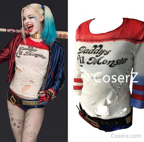 Suicide Squad Harley Quinn T shirt Harley Quinn Cosplay