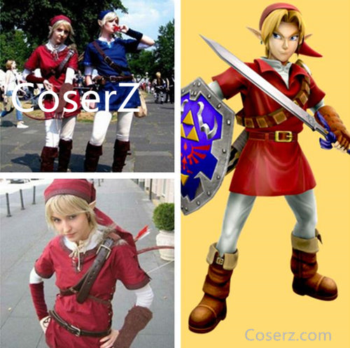 Custom The Legend of Zelda Costume, Red Link Costume, Link Red Cosplay Costume