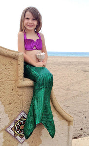 Kids Mermaid Swimwear, Ariel Green Tail and Seashell Top