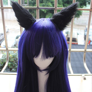 LOL Ahri Wig Ahri Cosplay Wigs Peluca The Nine-Tailed Fox Dark Blue Hair With Ears Headwear