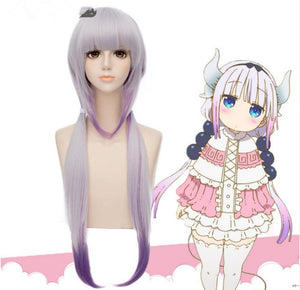 Kobayashi-san Chi No Maid Dragon Kamui Kanna Wig Gradient Cosplay Peluca Hair Ornaments Horns