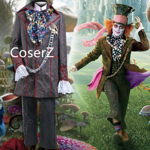 Alice In Wonderland Cosplay Johnny Depp Mad Hatter Costume For Adults Women Men