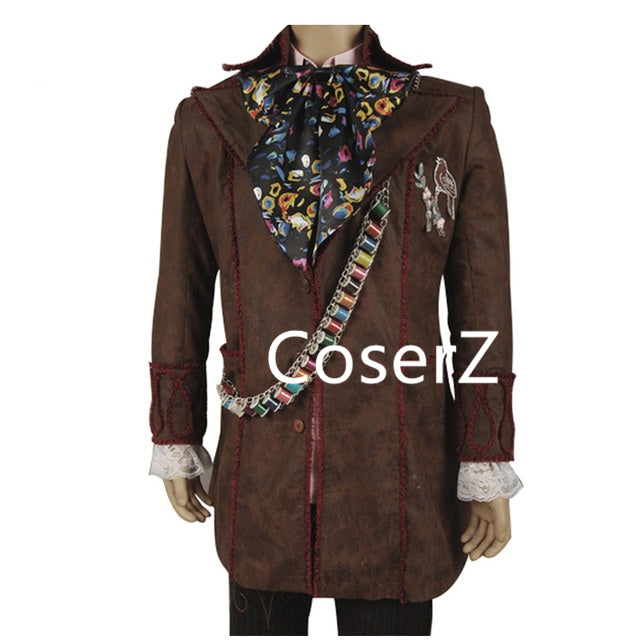 Alice In Wonderland Johnny Depp Mad Hatter Cosplay Costume with Jacket Pants Tie Full Set
