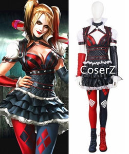 Batman: Arkham Knight Harley Quinn Cosplay Costume with Top, Pant, Skirt, Armgurads, Belts