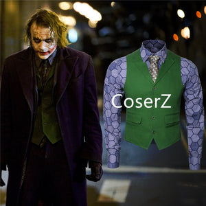 Batman Dark Knight Rise Joker Cosplay Costume Shirt + Green Vest + Tie