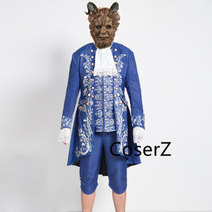 2017 Movie Beauty and the Beast Costume Beast Cosplay Blue Outfit Adult