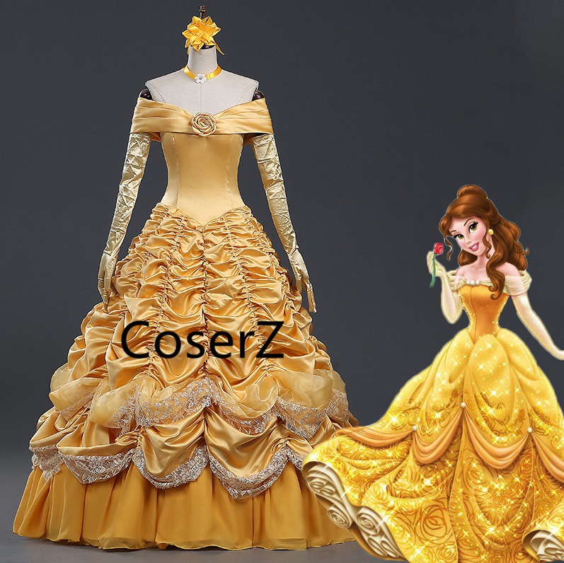 Belle Dress, Beauty and The Beast Dress Princess Prom Ball Gown without Cloak