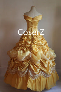 Custom Deluxe Princess Belle Dress, Belle Yellow Dress Cosplay Costume For Party