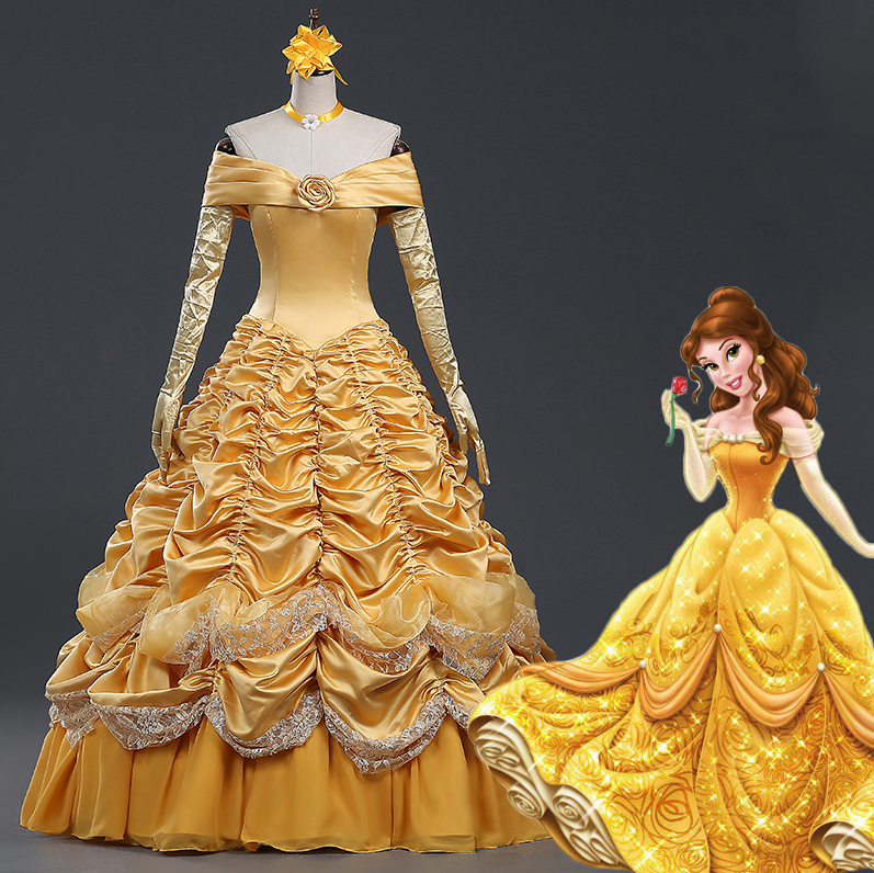 Beauty and the Beast Princess Belle Dress, Belle Costume Halloween Cosplay Costume