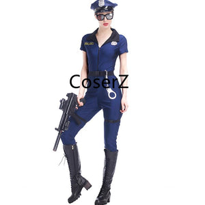 Blue Police Costume, Women Cosplay Cop Police Jumpsuit