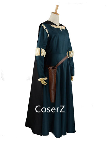 Brave Princess Dress Merida Costume, Merida Dress with Cape