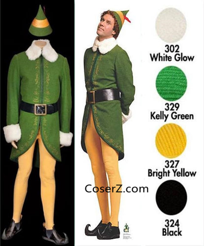 Buddy the Elf Costume, Buddy the Elf Outfit for Adults Male/Female