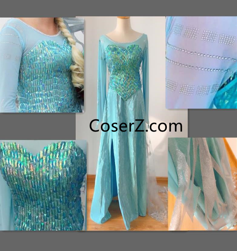 DS16 Deluxe Princess Elsa Dress Elsa Cosplay Costume Park Version for Adult for Girls