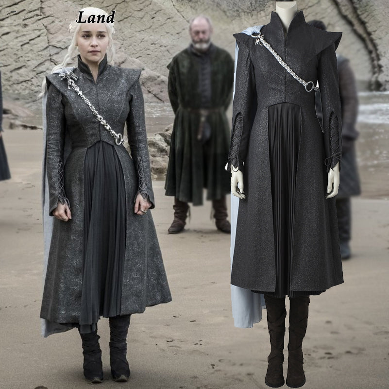 Game of Thrones Season 7 Daenerys Targaryen Cosplay Costume with Cloak Boots