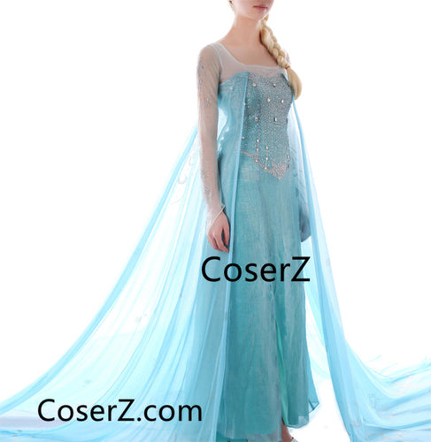 Deluxe Frozen Elsa Dress, Elsa Costume Halloween Cosplay Costume