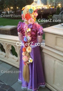 Tangled Extra Long Rapunzel Wig Adult for Women (Flowers Option)