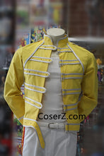 Freddie Mercury Costume Outfits Yellow Jacket Shirt & Pants