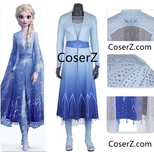 Frozen 2 Elsa Dress Blue Elsa Outfit for Adult Cosplay Costume ES021