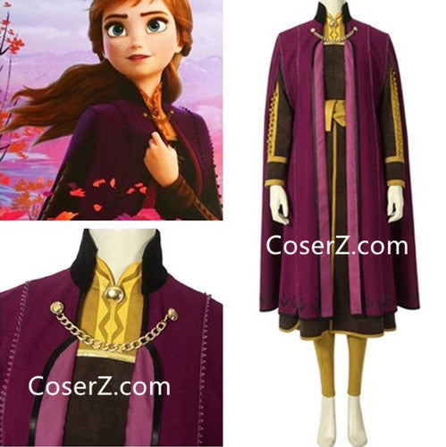 Frozen 2 Anna Costume, Anna Dress, Frozen II (2019) Anna Cosplay Halloween Costume