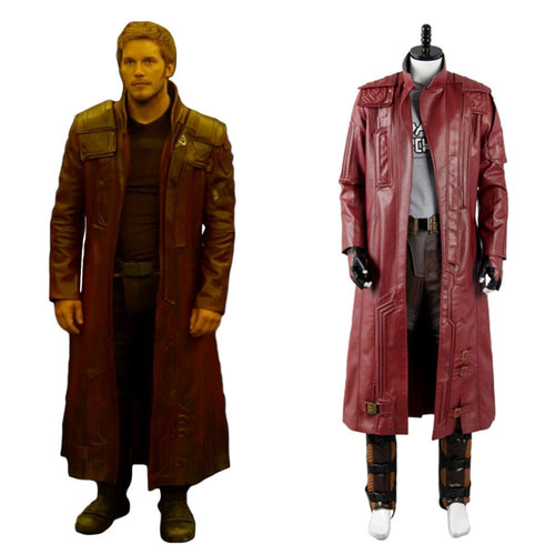 Guardians of the Galaxy 2 Star Lord Coat only, Chris Pratt Maroon Cosplay Long Coat Only