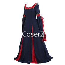 Custom Guinevere Navy Blue Bordeaux Victorian Women Dress Costume