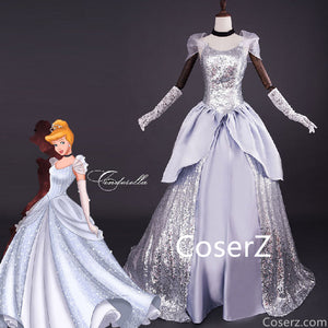 Custom Made Cinderella Silver Dress, Cinderella Dress