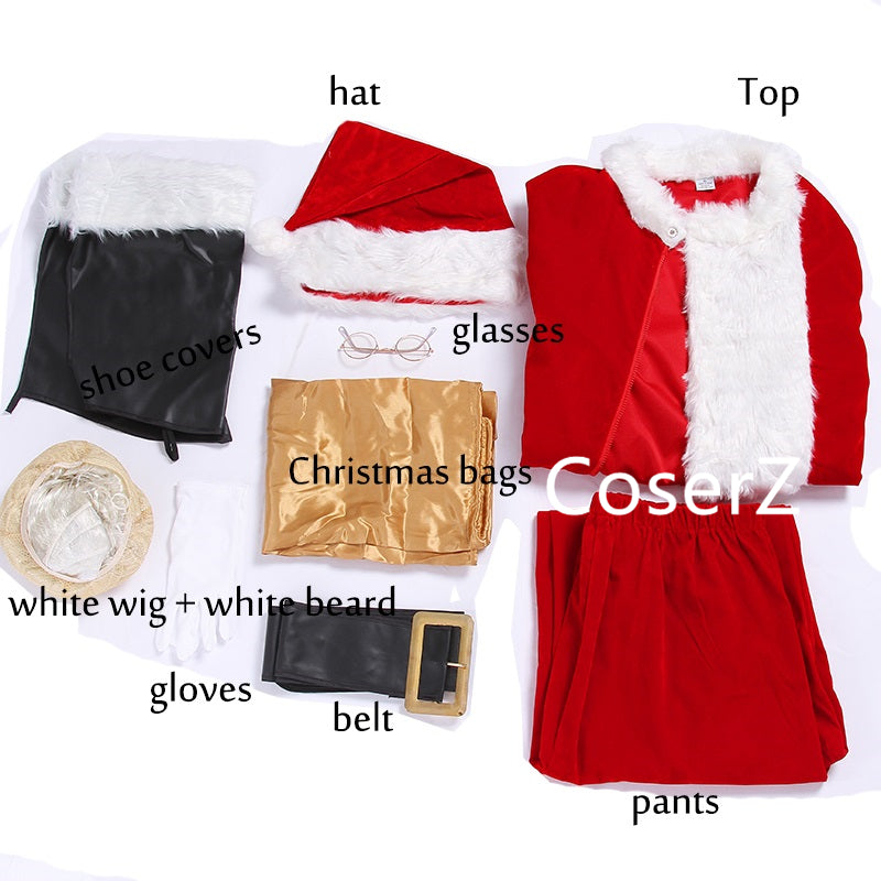 Custom Luxury Santa Claus Cosplay Costume Santa Claus Christmas Clothes