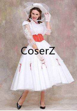 Mary Poppins Costume with Red Satin Mary dress