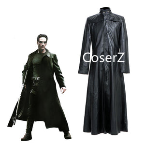 Matrix Neo Coat Cosplay Costume Long Black Leather Trench