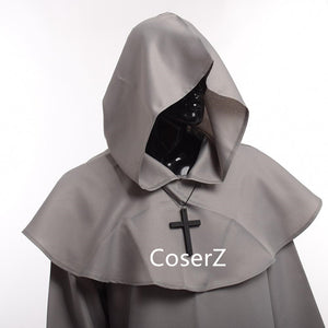 Medieval Friar Costume Vintage Renaissance Priest Monk Cowl Robes Cosplay Outfits with Cross Necklace