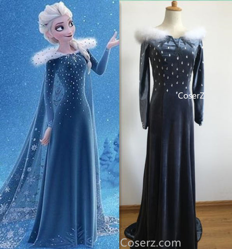 Custom Olaf's Frozen Adventure Elsa Dress, Elsa Costume, Elsa Cosplay Costume without Cloak