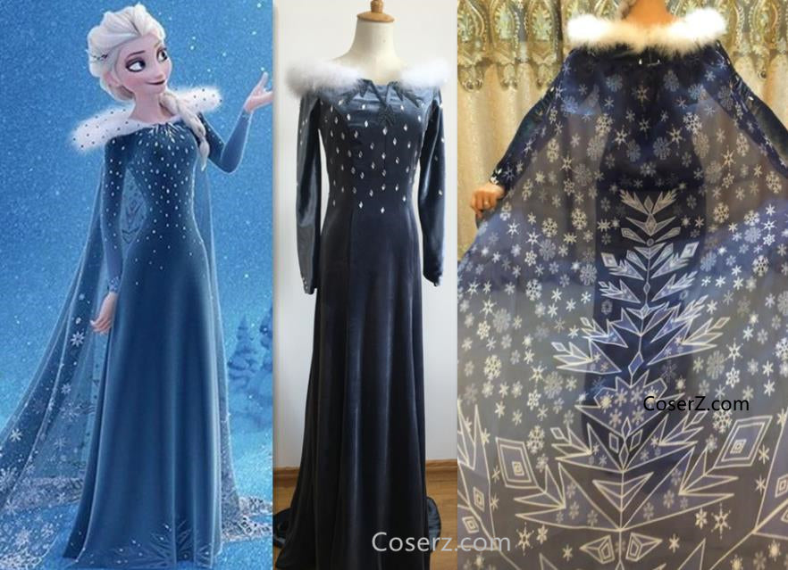 Olaf's Frozen Adventure Elsa Dress + Long Cape 200cm - Olaf's Frozen Adventure Costumes