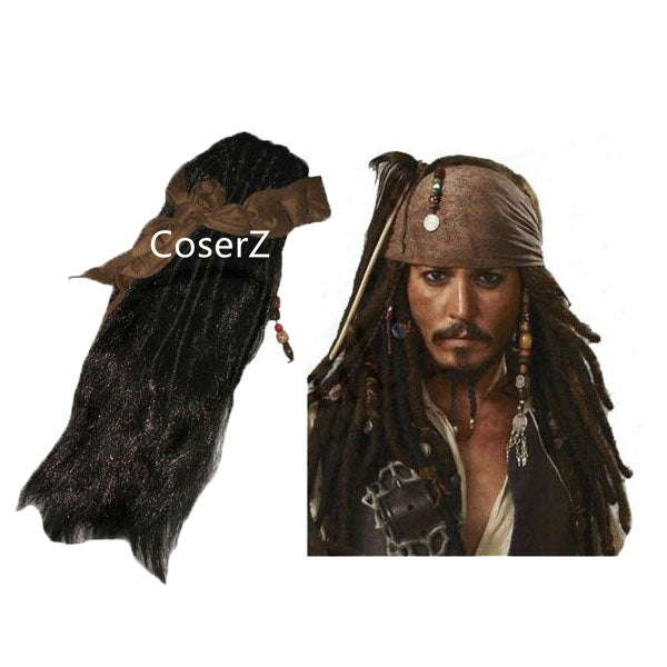 Pirates Caribbean Jack Sparrow Cosplay Wig Costume Accessories Wig Beards Sets