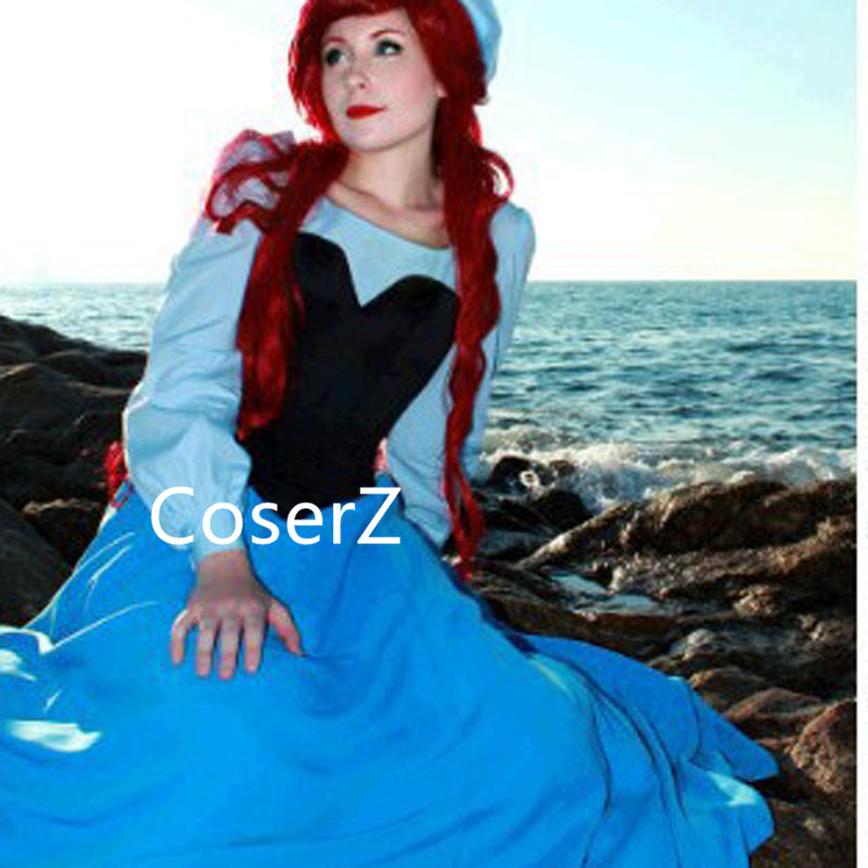 Custom Princess Ariel Blue Dress, The Little Mermaid Ariel Cosplay Costume