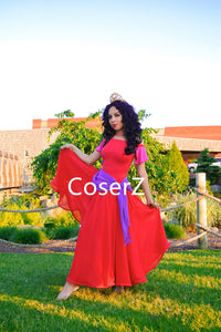 Esmeralda Dress in Red, Princess Esmeralda Red Dress Costume Topsy Turvy Dress for Adults Kids